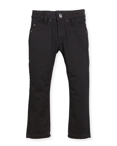 Jeans w/ Faux-Leather Trim, Black, Size 6-10