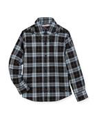Long-Sleeve Checkered Star Button-Down Shirt, Size 4-5