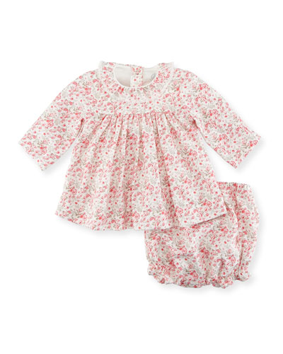 Floral-Print Dress w/ Bloomers, Size 1-18 Months