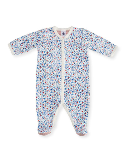 Floral-Print Front Snap Footie Pajamas, Size Newborn-9M