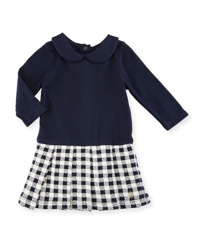 Long-Sleeve Dress w/ Checkered Skirt, Size 3-36 Months