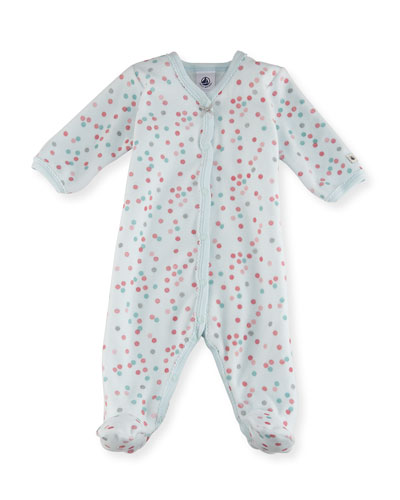 Velour Multi-Dot Footie Pajamas, Size 1-9 Months