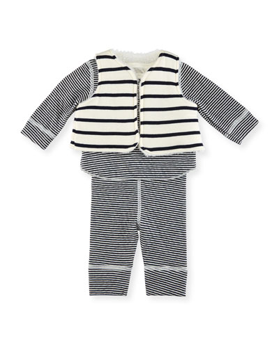 Long-Sleeve Striped Layette Set, Size 1-18 Months