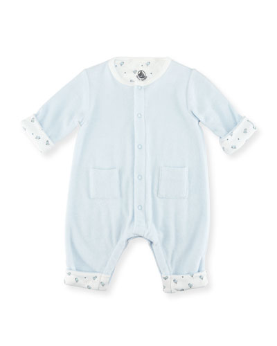 Petit Bateau Long - Sleeve Terry Cloth Coverall, Size Newborn - 6M