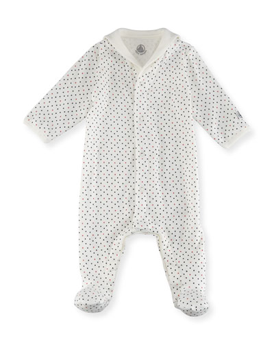 Tiny Star-Print Cotton Footie Pajamas, Size Newborn-9M