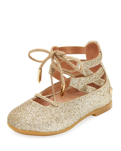 Belgravia Baby Glittered Ballerina Flat, Gold, Infant/Toddler