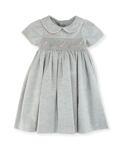 Smock Dress w/ Flower Detail, Size 12-24 Months