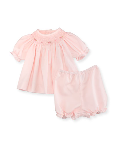 Smocked Bishop Dress w/ Bloomers, Pink, Size Newborn-9 Months