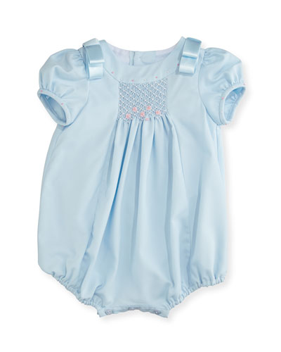 Ribbon-Shoulder Bubble Playsuit, Size 3-24 Months