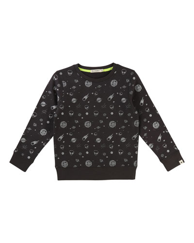 Allover Space-Print Sweatshirt, Size 4-8