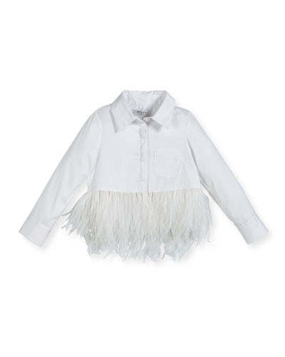 Cotton-Stretch Poplin Button-Down Top w/ Feather Trim, Size 8-16