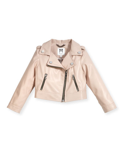 Vegan Leather Moto Jacket, Size 8-16