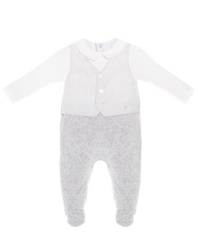 Mock-Vest Velour Footie Pajamas, Size 1-9 Months
