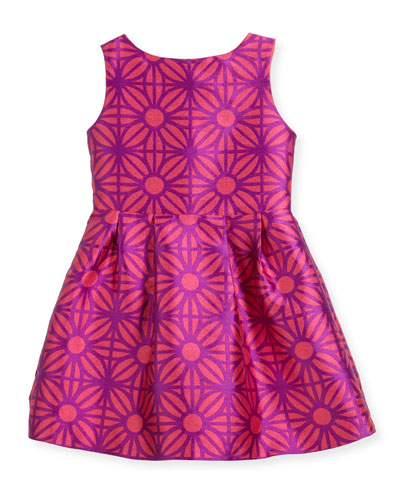 Sleeveless Daria Geo-Print Party Dress, Size 2-4