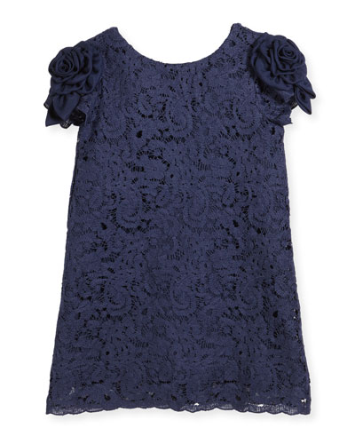 Daria Lace Dress w/ Rosette Sleeves, Size 10-14