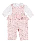 Floral-Print Corduroy Overalls w/ Knit Blouse, Size 3-24 Months