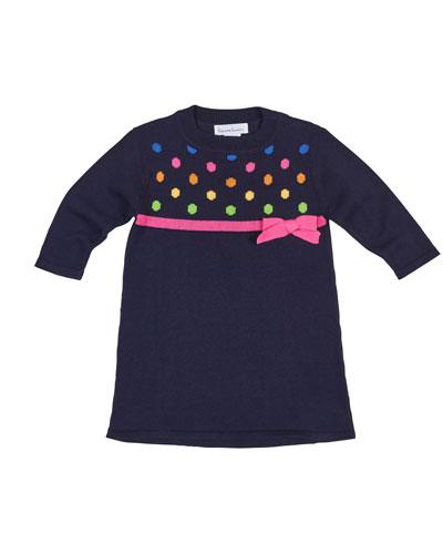 Polka Dot Knit Long-Sleeve Dress, Size 2-6X