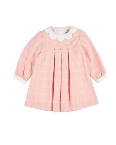 Long-Sleeve Tattersall Dress, Size 3-24 Months