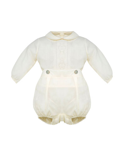 Long-Sleeve Woven Shirt w/ Bloomers, Size 3-12 Months