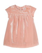 Velvet Flower-Embroidery Babydoll Dress, Size 6 Months-2T