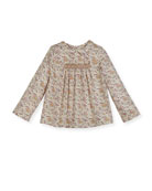 Floral-Print Smocked Blouse, Size 3-8