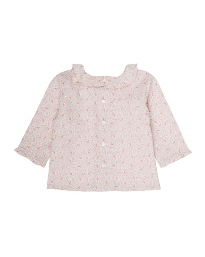 Floral-Print Liberty Blouse, Size 3 Months-2T
