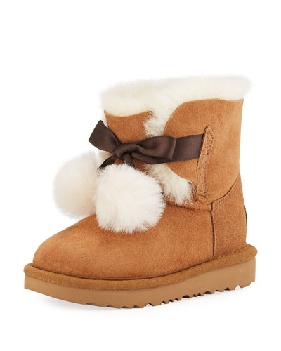 Gita Pompoms Shearling Fur Boot, Toddler