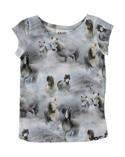 Robinette Short-Sleeve Horse T-Shirt, Size 3-10