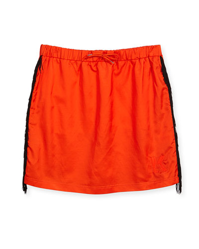 Fringe-Trim Knit Skirt, Orange, Size 4-5