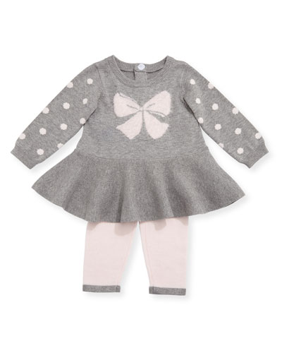 Bow & Polka-Dot Sweater w/ Leggings, Size 3-9 Months