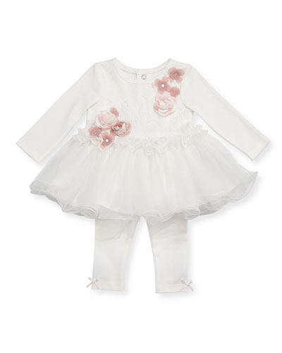 Long-Sleeve Tutu Top w/ Leggings, Size 3-12 Months