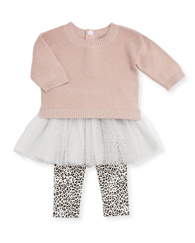 Metallic Knit Sweater w/ Leopard Tutu Leggings, Size 12-24 Months
