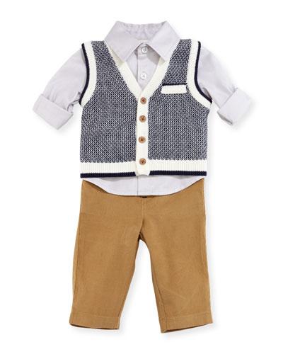 Sweater Vest, Shirt & Pants Layette Set, Size 6-24 Months