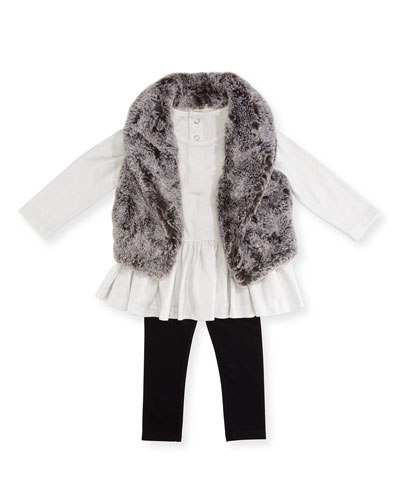 Faux-Fur Vest, Top & Leggings Layette Set, Size 2-4