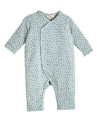 Kimono-Style Bunny-Print Coverall, Blue, Size 0-18 Months