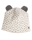 Reversible Baby Beanie Hat w/ Ears, Light Gray