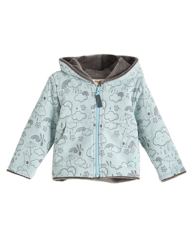 Printed Faux-Fur Lined Hoodie, Blue, Size 6-24 Months