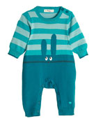 Bunny Intarsia Knit Coverall, Teal, Size 0-18 Months
