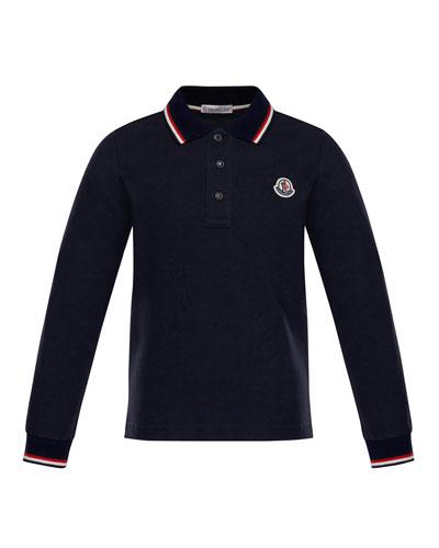 Long-Sleeve Stripe-Trim Polo, Size 4-6