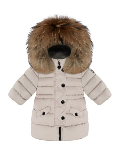 Essential Fitted-Waist Puffer Coat w/ Fur-Trim, Size 12M-3T