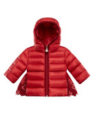 Saule Floral-Embroidered Hooded Puffer Coat, Size 12M-3T