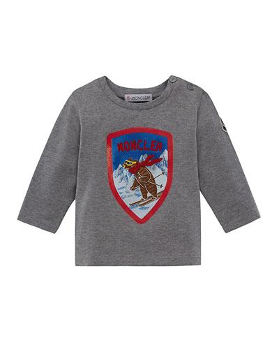 Long-Sleeve Maglia Skiing Bear T-Shirt, Size 12M-3T