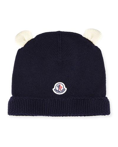 Berretto Animal Ears Knit Beanie Hat, Navy, Infant