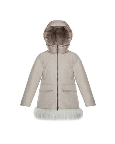 Chevronne Fur-Hem Long Coat, Size 8-14