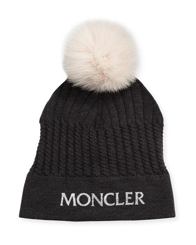 Girls' Berreto Virgin Wool Logo Beanie Hat w/ Fur Pompom