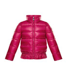 Anette Ruffle-Trim Quilted Coat, Size 8-14