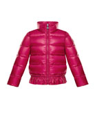 Anette Ruffle-Trim Quilted Coat, Size 4-6