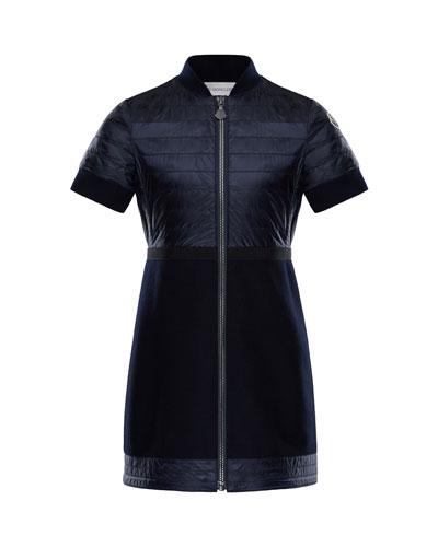 Short-Sleeve Abito Mixed Media Dress, Size 4-6