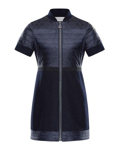 Short-Sleeve Abito Mixed Media Dress, Size 8-14