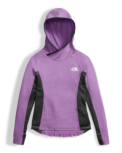 The North Face Girls' Long - Sleeve Reactor Hoodie, Purple, Size XXS - XL